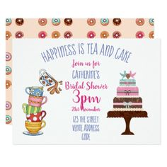 #Bridal Shower Tea Party Invite Cute Cake Teacups - #birthday #invitations