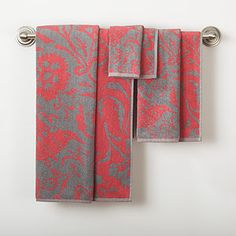 Grey/Coral Parnavi Towel Collection | World Market