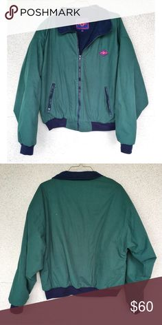 Like New - Comfortable Fleece Bomber Jacket Really awesome jacket size XL vintage like new. Outside is green while the interior is a nice navy blue padded fleece material, making for a warm winter jacket. I have it listed in large too bc this is great if your someone who lives by the cold/layers with a hoodie underneath. I'm a large and this worked great for that too! Has 2 zipper enclosed size pockets Vintage Jackets & Coats Bomber & Varsity