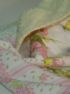 Plush Baby Blanket/Modern Quilt - For Baby Girl - sweet vintage sheets - pink, green, purple, white, yellow, blue florals