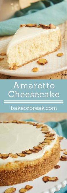 Amaretto Cheesecake is such a beautiful, delicious, impressive dessert. If you love almond desserts, you must try this one! - Bake or Break