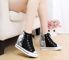 Womens Hidden Wedge Fashion Sneaker Canvas Lace Up Side Zip Platform Casual  Shoe 7a1ef5f65