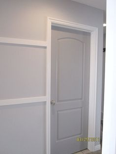 Walls: Behr Manhattan Mist (the color we're already doing on the walls) Door: Behr Gray Timber Wolf. >> Master Bedroom?