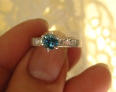 Vintage .88ct Blue Diamond Engagement Wedding Solitaire Ring 14kt White Gold Bridal Jewelry