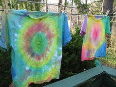 Use left over Easter Egg dye to tye-dye t-shirts