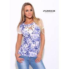 2afdf8ee41 Masca Fashion ékszerkarikás fűzős dekoltázsú, muszlin rövid ujjú kék  virágos fehér felső
