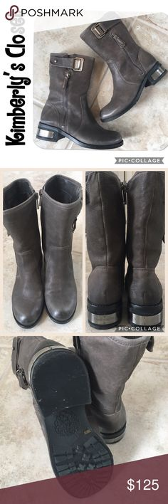 """VINCE CAMUTO moto boots VINCE CAMUTO Wayland boots.   Round toe, Buckle strap detail, Dual side zip closure, Approx. 8.5"""" shaft height, 13.25"""" opening circumference, Approx. 1.75"""" heel. Gray/Taupe color leather upper. Silver tone hardware.  There are a few small scuffs in leather and some water marking on heels (see photos).  Boots were only worn a few times - overall in very good condition. Vince Camuto Shoes Combat & Moto Boots"""