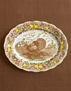 Elaborately bordered platters, like this Barker Bros. example, are dishy lures for many collectors ($428).    Read more: Turkey China Transferware - Thanksgiving Dinner - Country Living