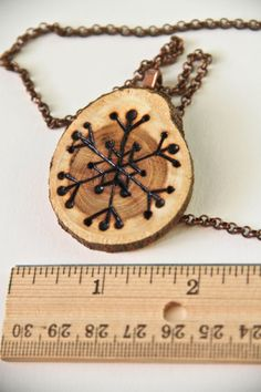 Snowflake Wood Burned Art Necklace OOAK by ArtsyHeartsyBoutique