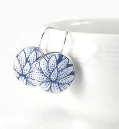 Drop Earrings Blue Flowers Dangle Earrings Water Lily Silver Toned Floral Bridal Leverback Earrings Fabric Covered Button Wedding Jewelry
