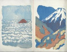 From Shinshô Fuji--Fresh praise of Fuji--a book of verse by the poet Maeda Sekibo and two colour woodblock prints by Onchi Kôshirô. Published by Fugaku Honsha, Tokyo in 1946. via Sosaka Hangu
