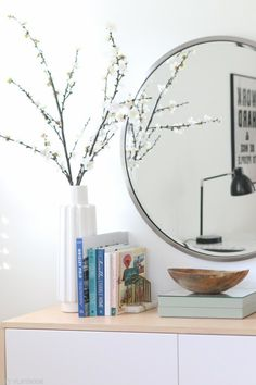Decorating Above the Office Fauxdenza without breaking the bank - Love the styling on top of this dresser. Some books, a tall vase, and a low bowl. A great combinati - Kids Bedroom Furniture, Furniture Layout, Shabby Chic Furniture, Bedroom Dressers, Diy Furniture, Best Dresser, Low Dresser, Dresser Drawers, Recycled Furniture