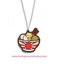 Red Ramen Noodle Kitty Acrylic Necklace... I want everything she makes XD
