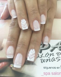Uñas French Manicure Nails, Manicure And Pedicure, Nail Arts, Wedding Nails, Veronica, Acrylic Nails, Nail Designs, Hair Beauty, Make Up