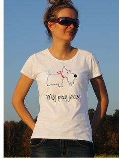 T-shirt ręcznie malowany z psem rasy scoti z napisem jaki tylko chesz.