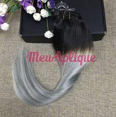 Megahair Aplique Tictac Cabelo Humano Granny Cinza e Preto Ombre Hair