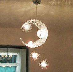 Moon & Star Children Kid Child Bedroom Pendant Lamp Chandelier Light Ceiling in Casa y jardín, Lámparas, luces y ventiladores de techo, Candelabros y lámparas de techo | eBay