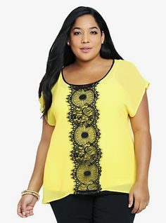 Lace Inset Chiffon Top | Torrid