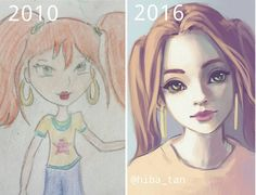 Old drawing on the left vs. messy redraw on the right  these are so funny to look at like I can't believe I used to draw like this QvQ I was 12 on the left and now I'm 18  the funny thing is the old drawing probably took longer than the one on the right HAHA  #improvement #redraw #art #artist #drawing #anime #semirealism