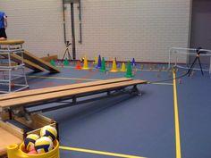 Rol-mikken.  Materialen: - kastdejen (zo hoog als je wilt) - 2 banken - korf - ballen - mikdoelen ( blokjes, doeltje, pionnen, wigwam)  Lesvoorstel: Leerlingen gaan bij de banken staan/zitten en rollen de ballen door de goot. De betere leerlingen kunnen ze ook over de bank rollen.