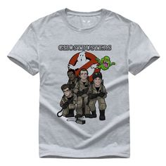 Ghostbusters T-shirt Ghost death squads Pure cotton Round collar Men's short sleeve T-shirt Ghostbusters tee tops women