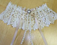 Lace Garter Wedding Garter Ivory Garter Set with Ivory Bows