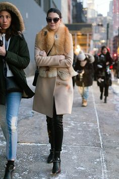 Kendall having a fur moment. #offduty in NYC. #KendallJenner