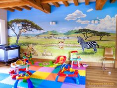 playroom safari mural with toys