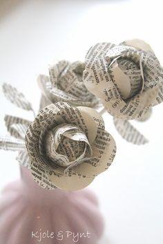 17.Dez : DIY Buchpapier - Rosen * DIY vintage paper roses