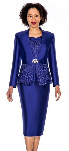 Beautiful 3 piece church suit by Giovanna. Made in a rich silk fabric . Available in missy and plus 10-26W. Perfect church attire for the first lady or mother of the bride.