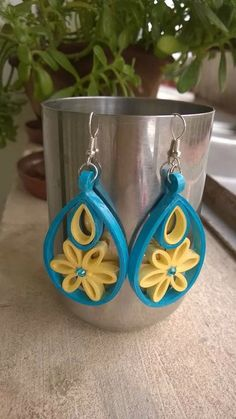 Blue quilled earrings