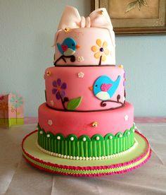 Birds & the Bees Baby Shower Cake Vanilla Cake & BC  Follow us on FB www.facebook.com/sweetsbymonica  #sweet #sweets #sweetsbymonica #cake #cakes #birds #bees #yum #yummy #love #followonfb #ombre #pink #pretty