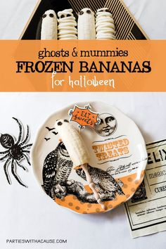 Halloween treats don't need to be candy! These ghost and mummy frozen bananas are a huge hit with kids and so easy to make. Make great Halloween lunches, healthy halloween party food, or just an after school snack. Keep it simple or decorate them up. See how easy it is at PartiesWithACause.com #halloweenrecipe #healthyhalloween #halloweenparty #halloweenfood #frozenbanana
