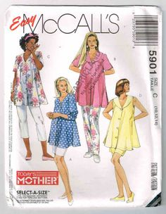 Vintage, Uncut McCall's Maternity Sewing Pattern #5901, Sizes 10, 12, 14, Bust…