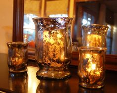 The best looking diy mercury glass ive come across. Take the Side Street: Faux Mercury Glass Tutorial Do It Yourself Design, Do It Yourself Inspiration, Do It Yourself Home, Fun Crafts, Diy And Crafts, Mercury Glass Candle Holders, Candle Jars, Mercury Glass Decor, Candle Shop