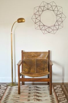 Mid Century Leather Sling Chair