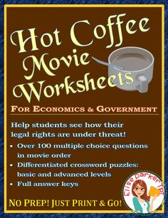Hot Coffee Movie Worksheets and Puzzle Pages Teaching Materials, Teaching Ideas, Judicial Branch, Fall Cleaning, Thinking Of Someone, Multiple Choice, Color Activities, Learning Centers, Math Resources