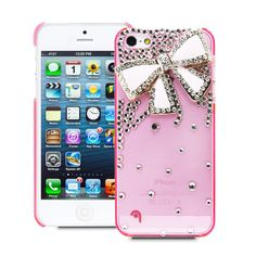 Fosmon GEM Series 3D Bling Crystal Design Case for Apple iPhone 5 - Pink Rhinestone Bow