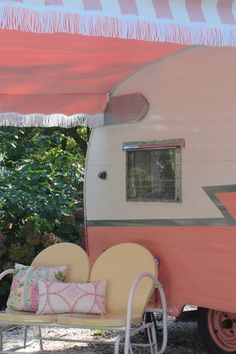 "~Color is ""Ford 1956 Sunset Coral""  ~Awning from Vintage Trailer Supply"