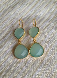 Roost Aqua Chalcedony Teardrop Earrings  $145.00