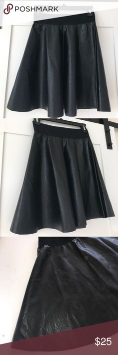 "FAUX LEATHER SKIRT Made in ITALY!! NEVER WORN 2"" elastic waiste band. Super cute on and great for a holiday outfit with tights and boots!! ‼️SORRY NO TRADES ‼️PRICE FIRM UNLESS BUNDLED  ‼️ITEMS SHIPPED NEXT BUSINESS DAY Skirts Mini"