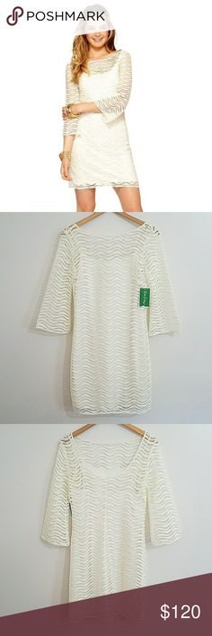 Lilly Pulitzer Dress Beautiful White Wavy Knit Lace Lilly Pulitzer Topanga Dress. Size Small. 100% Polyester. Lilly Pulitzer Dresses