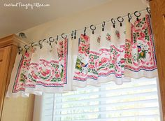 Make A Quick and Easy Window Valance out of a thrift store tablecloth!