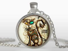 (3 pieces/lot)Steampunk Cat Pendant Steampunk Clock Necklace Silver Plated Pendant Steampunk Jewelry