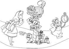 Контурные рисунки и картинки раскраски Алиса в стране чудес