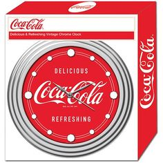 """12"""" Coca-Cola Clock with Chrome Finish, Delicious Style - Walmart.com Chrome Wall Clock, Metal Clock, Coca Cola, Brushed Metal, Retail Packaging, Chrome Finish, Coke, Walmart Shopping, High Gloss"""