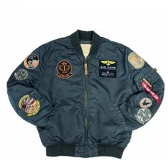 pilot jacket by Alpha Industries. Featuring on trend patches to sleeves and chest, zipped pocket to sleeves, remove before flight tag, zipped Aviator Jackets, Men's Jackets, Military Jackets, Varsity Jacket Outfit, Alpha Industries Ma 1, Leather Sleeve Jacket, Flight Bomber Jacket, Creation Couture, Nylons