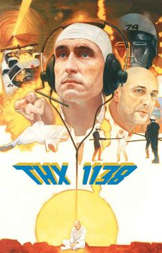 A great poster from George Lucas' 1971 directorial debut sci-fi film THX 1138. Starring Robert Duvall and Donald Pleasence, the dystopian film has is a classic both of the genre and of cinema in gener