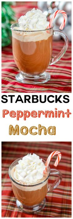 Copycat Starbucks Peppermint Mocha: Warm and creamy coffee that tastes better than the Starbucks version! Ready in 5 minutes with only 5 ingredients!