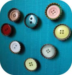Simple bottle cap button magnets.  These are quick and cheap and would make a good host gift.